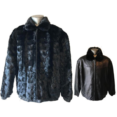 Diamond Mink/Leather Reversible Jacket - Black