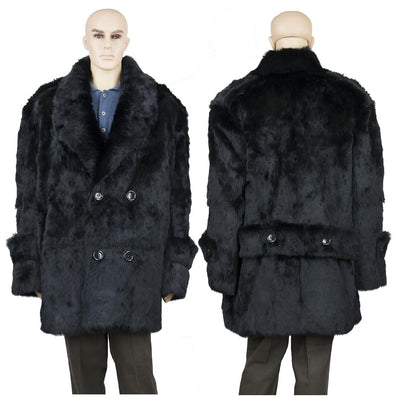 Full Skin Rabbit Pea Coat - Black