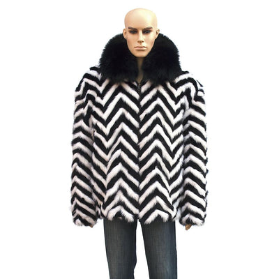 Chevron Mink Jacket with Fox Collar - Black/White