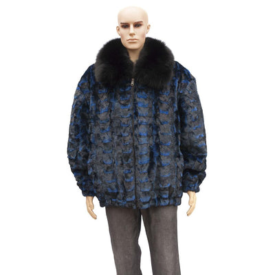 Sheared Diamond Mink Jacket with Fox Collar - Navy