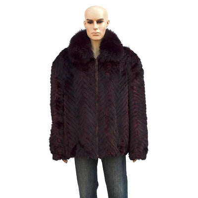 Chevron Mink Jacket with Fox Collar - Burgundy
