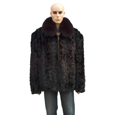 Diamond Mink Jacket - Burgundy