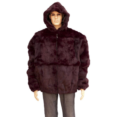 Full Skin Rabbit Jacket with Detachable Hood - Burgundy
