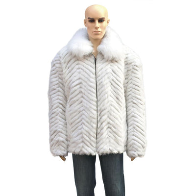Chevron Mink Jacket with Fox Collar - White