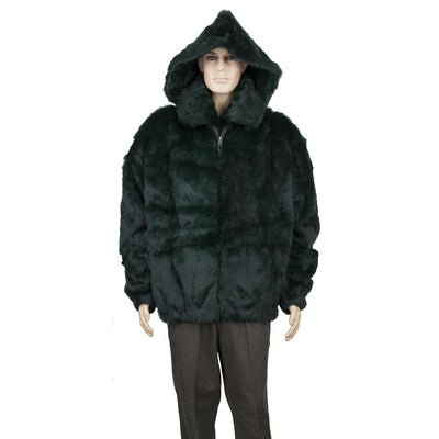 Full Skin Rabbit Jacket with Detachable Hood - Green