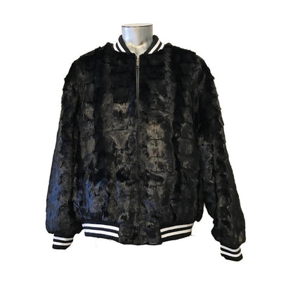Diamond Mink Baseball Jacket - Black