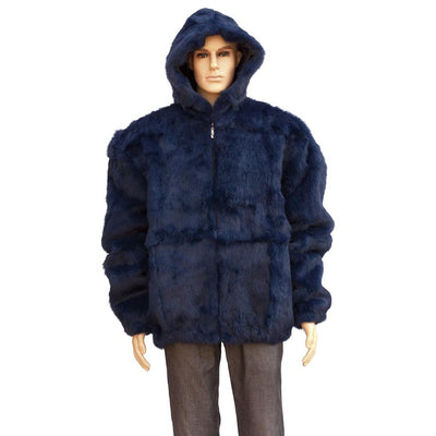 Full Skin Rabbit Jacket with Detachable Hood - Navy
