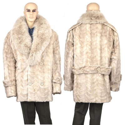 Mink Paws Pea Coat w/ Fox Collar - Pearl