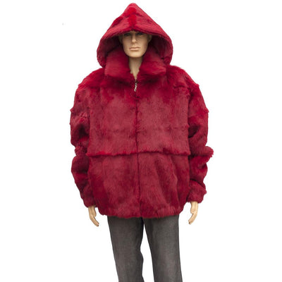 Full Skin Rabbit Jacket with Detachable Hood - Red