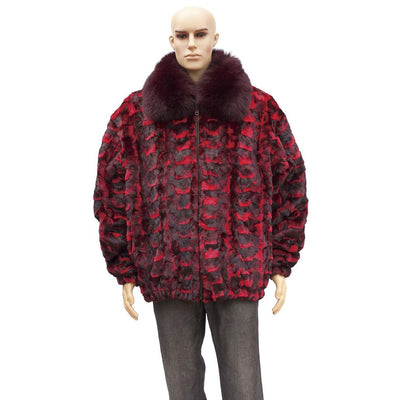 Sheared Diamond Mink Jacket with Fox Collar - Red