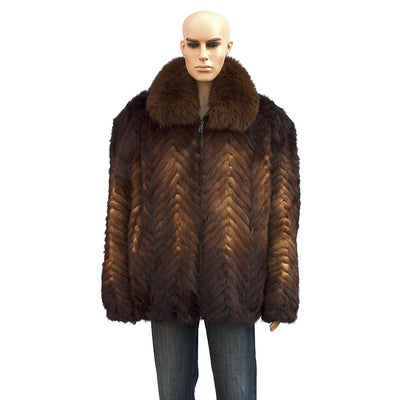 Chevron Mink Jacket with Fox Collar - Whiskey