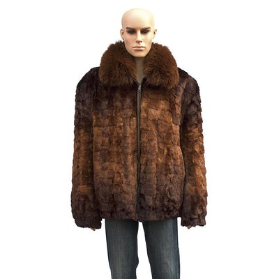 Diamond Mink Jacket - Whiskey