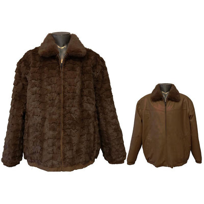 Diamond Mink/Leather Reversible Jacket - Brown