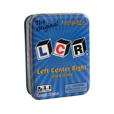 Lcrã'â® Left Center Right Tm Dice Game   Blue Tin