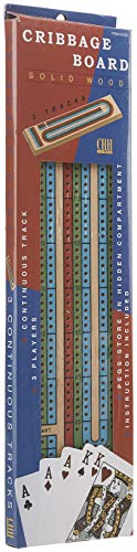 3 Color Track Cribbage Board with Storage Compartment, Multicolored