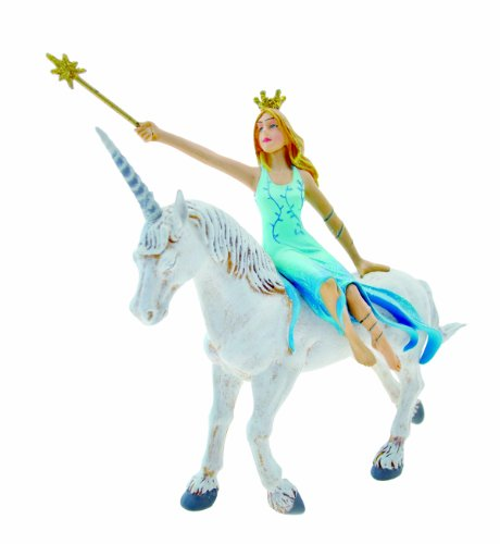 Plastoy Once Upon a Time Blue Fairy on a White Unicorn Figurine