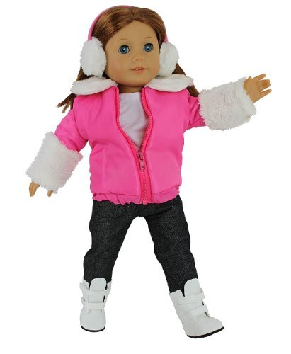 "Dress Along Dolly Winter Snow Doll Outfit for American Girl & 18"" Dolls - 5 Piece Clothes Set Includes Jacket, Shirt, Jeans, Boots, & Earmuffs"