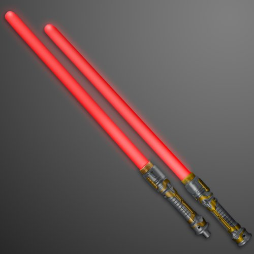 FlashingBlinkyLights Double Sided Swords Sabers with Red LEDs & Sounds