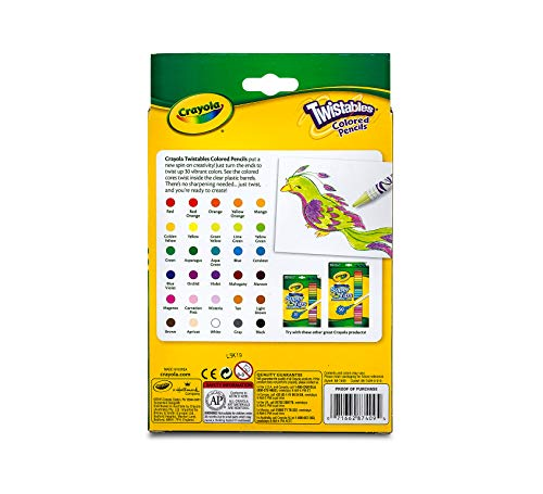 Crayola Twistables Colored Pencils Coloring Set, Gift Age 3+   30 Count