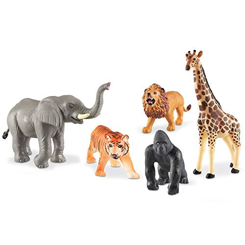 Learning Resources Jumbo Jungle Animals I Lion, Tiger, Gorilla, Elephant, and Giraffe, 5 Pieces, Ages 3+