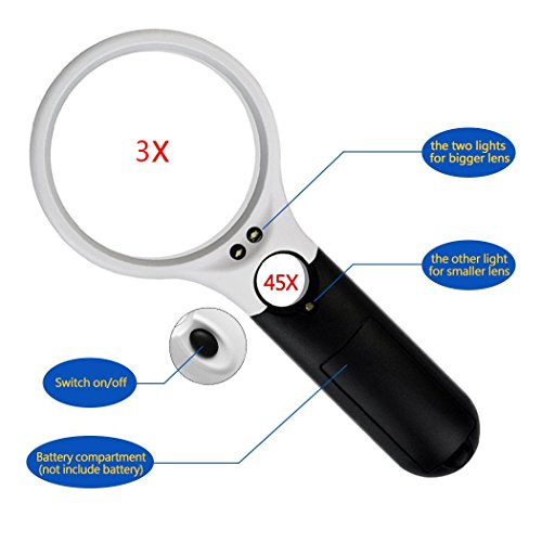 obmwang 3 LED Light 3X 45x Handheld Magnifier Illuminated Reading Magnifying Glass Lens Jewelry Loupe Ideal for Reading, Crafts, Hobby, Black and White Stitching