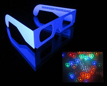 Load image into Gallery viewer, Rob's Super Happy Fun Store Fireworks Diffraction Grating Glasses (Glow Under Blacklight!) - 50 Glasses - Plus 1 Pair Rainbow Hearts Diffraction Glasses