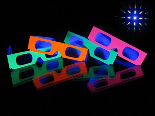 Rob's Super Happy Fun Store Fireworks Diffraction Grating Glasses (Glow Under Blacklight!) - 50 Glasses - Plus 1 Pair Rainbow Hearts Diffraction Glasses