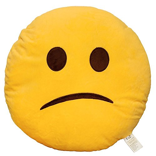 EvZ 32cm Emoji Smiley Emoticon Yellow Round Cushion Stuffed Plush Soft Pillow