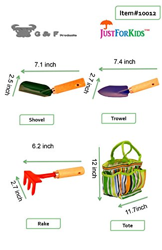 G & F 10012 JustForKids Kids Garden Tools Set with Tote hand rake shovel trowel