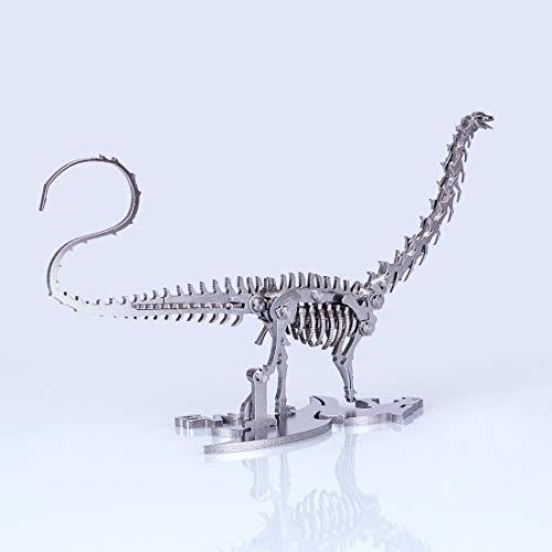 Haoun 3D Metal Puzzle, DIY Assembly Dinosaur Model Stainless Steel Model Kit Jigsaw Puzzle Brain Teaser, Dinosaur Puzzle Toy Desk Ornament - Diplodocus