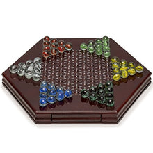 Load image into Gallery viewer, Yellow Mountain Imports Chinese Checkers, Halma Wooden Game Set (12 inch Set) - Built-in Storage Drawers - with Cherry Colored Finish & 6 Multi-Colored Marble Set, 14mm