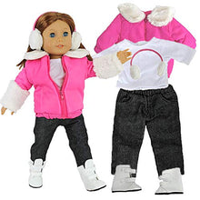 "Load image into Gallery viewer, Dress Along Dolly Winter Snow Doll Outfit for American Girl & 18"" Dolls - 5 Piece Clothes Set Includes Jacket, Shirt, Jeans, Boots, & Earmuffs"