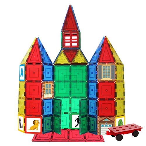 Shapemags 100 Piece Tiles Set Clear Colors Magnetic Blocks, Made With Power+Magnets, Includes 24 Sti