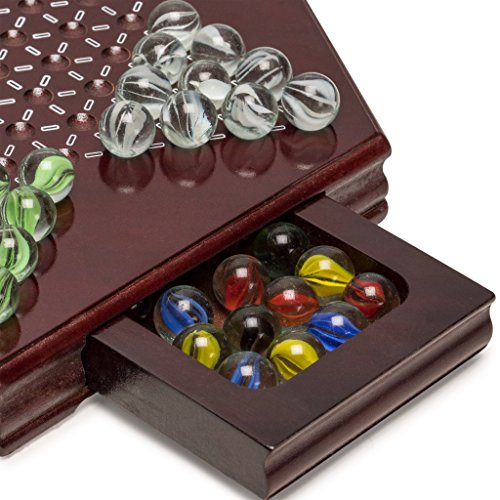 Yellow Mountain Imports Chinese Checkers, Halma Wooden Game Set (12 inch Set) - Built-in Storage Drawers - with Cherry Colored Finish & 6 Multi-Colored Marble Set, 14mm