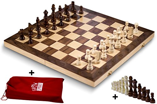 "GrowUpSmart Smart Tactics 16"" Folding Chess Set Made by FSC Certified Wood - Premium Edition with Chess Bag and Extra Chess Pieces"
