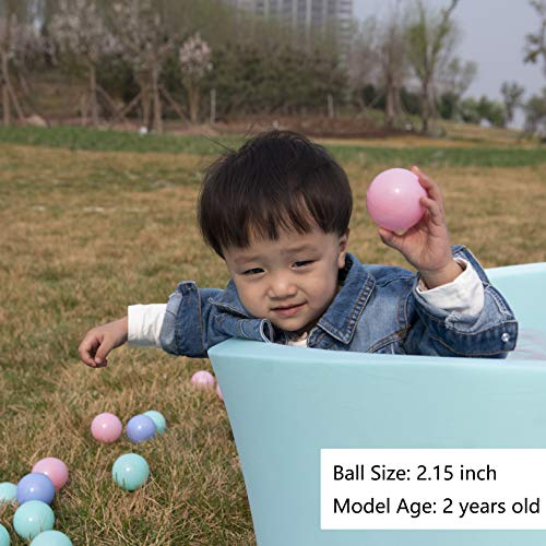 MoonxHome Pit Balls Crush Proof Plastic Children's Toy Balls Macaron Ocean Balls 2.15 Inch Pack of 100 Pure White