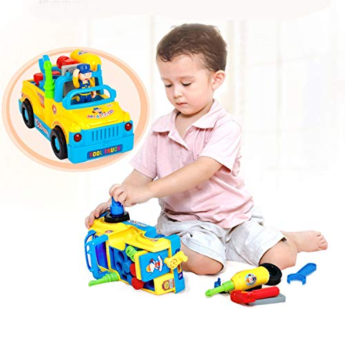 Liberty Imports Multifunctional Take Apart Toy Tool Truck With Electric Drill and Power Tools, Lights and Music, Bump and Go Action