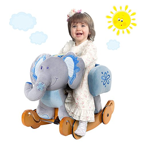 labebe - Baby Rocking Horse Wooden, Plush Rocking Animal, Toddler/Baby Rocker Toy for Nursery,Ride on Toy for Girl&Boy 1-3 Years Old, 2 in 1 Elephant Rocking Horse Blue with Wheel,Kid Riding Horse/Toy