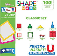 Load image into Gallery viewer, Shapemags 100 Piece Tiles Set Clear Colors Magnetic Blocks, Made With Power+Magnets, Includes 24 Sti