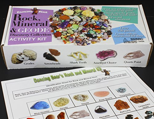 Dancing Bear Rock & Mineral Collection Activity Kit (200+Pcs) With Geodes, Shark Teeth Fossils, Arro