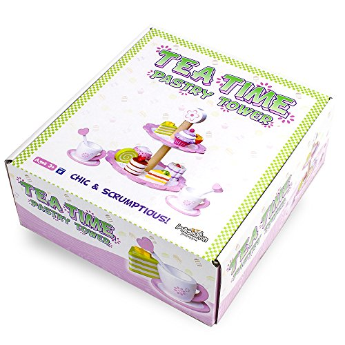Imagination Generation Wood Eats! Tea Time Pastry Tower   Toy Dessert Stand Includes Cake And More