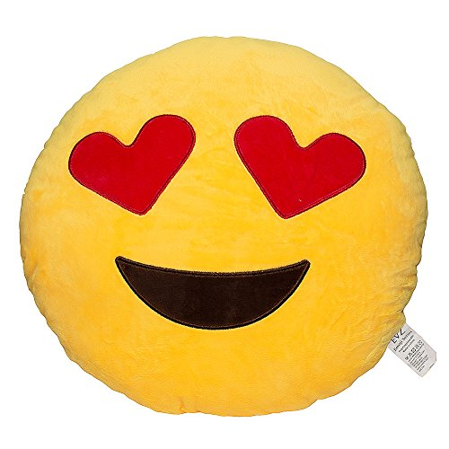 EvZ 32cm Emoji Smiley Emoticon Yellow Round Cushion Stuffed Plush Soft Pillow (Heart Eyes)