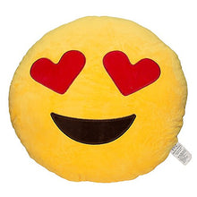 Load image into Gallery viewer, EvZ 32cm Emoji Smiley Emoticon Yellow Round Cushion Stuffed Plush Soft Pillow (Heart Eyes)
