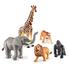 Load image into Gallery viewer, Learning Resources Jumbo Jungle Animals I Lion, Tiger, Gorilla, Elephant, and Giraffe, 5 Pieces, Ages 3+