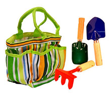 Load image into Gallery viewer, G & F 10012 JustForKids Kids Garden Tools Set with Tote hand rake shovel trowel