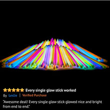 Load image into Gallery viewer, Party Sticks Glow Sticks Jewelry Bulk Party Favors 100pk With Connectors   8 Inch Glow In The Dark Pa