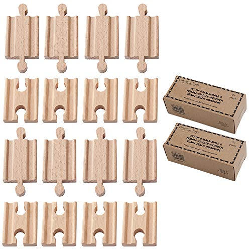 Orbrium 2X Pack of 8, 16 Pcs Toys Male-Male Female-Female Wooden Train Track Adapters Compatible with Thomas, Brio Chuggington Adapter