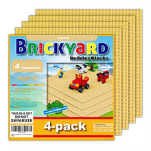 Load image into Gallery viewer, Brickyard Building Blocks 4 Sand (Tan) Baseplates, Improved Design 10 x 10 Inches Large Thick Base Plates for Building Bricks, for Activity Table or Displaying Construction Toys (4-Pack, Sand)