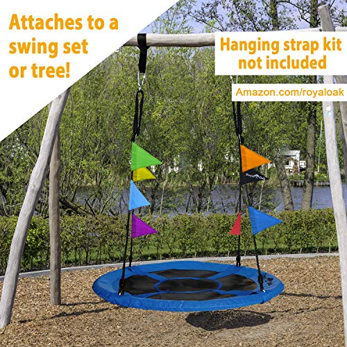 Royal Oak Giant 40 Inch Flying Saucer Tree Swing, Bonus Protective Swing Cover and Flags, 700 lb Weight Capacity, Easy Install, Steel Frame