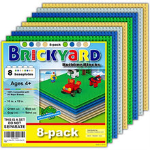Load image into Gallery viewer, [Improved Design] 8 Baseplates, 10 x 10 Large Thick Base Plates for Building Bricks by Brickyard, for Play Table or Displaying Compatible Construction Toys (2 Green, 2 Blue, 2 Gray, 2 Sand - 8-Pack)